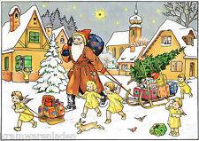 Uralter Adventskalender Weihnachtsmann und Engel bringen Geschenke, 29 x 20,5 cm