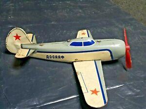 VINTAGE AIRPLANE TOY DOSAAF TIN WIND UP AEROFLOT JET AIRCRAFT RUSSIA CCCP USSR