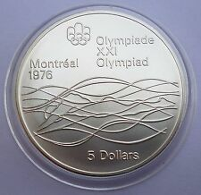 Canada 5 Dollars 1975 Silver coin UNC Swimmer - Montreal Olympics 1976