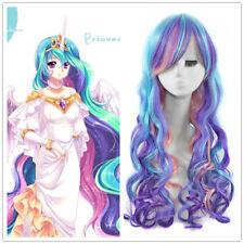 Princess Celestia Multicolor Cosplay Wig Barbie Doll Long Curly Hair Wigs