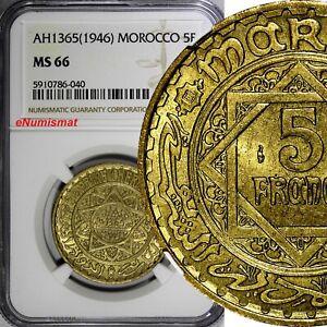 Morocco Mohammed V AH1365 (1946) 5 Francs NGC MS66 GEM BU  Y# 43 (040)