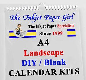 6 x A4 Blank Calendar Kits Any Year DIY Landscape 200g W.B