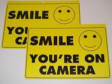 Lot of 2 Smile You're On Camera Yellow Security Surveillance Camera Warning Sign