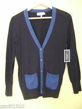 NWT Juicy Couture Midnight Blue Black Sexy Colorblock Cardigan Sweater M $138