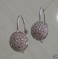 Boucles D'Oreilles avec Demi-Cercle de Diamants en or Blanc 750 18K