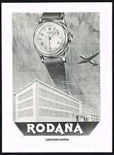 1950s Original Vintage 1951 Rodana Swiss Watch Factory Building Art Print Ad