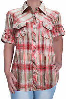 Womens Casual Checkered Blouse Ladies Check Shirt Top Plus Size