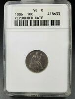 1886 P Seated Liberty Silver Dime Coin ANACS VG8 RPD Repunched Date F-107