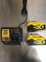 New DEWALT DCB205-2 20V XR 5.0Ah Lithium GENUINE Battery-2-Pack + DCB115 Charger