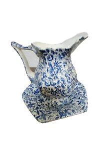 Miniature Decorative Vase Blue Swirl Chinese Design With Saucer 2 Piece Set