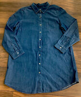 J. Jill Denim Tunic Top Blue Denim  Button Down L/S 100% Cotton Women's Petite L