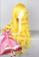 Fashion Fairy Princess Peach Prestyled Girls Long Wavy Yellow Cosplay Wig