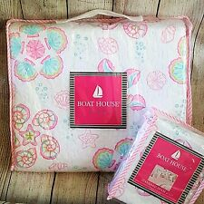 2 Piece Twin Quilt Set Girls Bedding Pink Seashells Beach Decor BOAT HOUSE Cotto