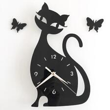 Sitting Cat Butterfly Wall Mirror Clock Silent Quartz Removable Acrylic Stick