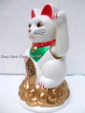 """4""""Chinese Oriental Lucky Good Luck Maneki Neko Waving Paw Hand Beckon Cat White"""
