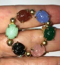 Very Nice Vintage Gold Plate Brooch With Various Colors Of Scarabs