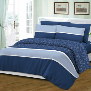 Queen Size 6 Piece Sheet Set Bamboo Style Deep Pocket Fade Resistant Blue White