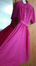 BNWT Laura Ashley Vintage Pink Polka Dot Dress With Sash Belt Size 14