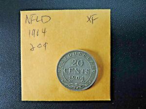 1904H 20 Cent Coin Canada Edward VII Newfoundland .925 Silver EF Grade
