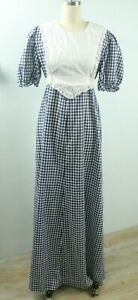 Vintage 70s Blue and White Gingham Boho Prairie Puffy Sleeve Lace Maxi Dress L