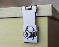 Key Operated Self Locking Chromed Steel Hasp Drawer Cabinet Door Lock Latch