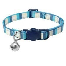 (CC056) Blue & White Check Pattern Cat Safety Release Collar, Breakaway Collar