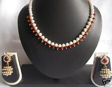 Handmade Maroon 6mm pearl gota necklace set with adjustable size.
