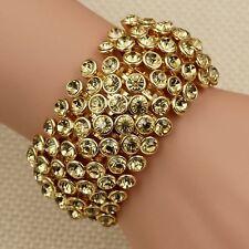 18K Gold Plated Topaz Crystal Rhinestone Wedding Bangle Cuff Stretch Bracelet 11