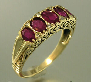 R507 Genuine 9ct Gold Natural Ruby & Diamond 5-stone Eternity Ring in yr size
