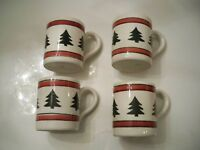 "FOUR "" PIER 1""  MUGS CHRISTMAS TREE DESIGN MADE IN ITALY"