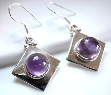 Amethyst Earrings 925 Sterling Silver Round Sphere Square Cube Dangle Drop New
