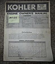 Kohler Engine Owner's Manual models K241,K301,K321