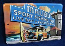 MALIBU PIER -*US MADE* Full Color Sign - Man Cave Garage Shop Bar Pub Wall Decor