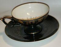 VTG MK Japan Porcelain Black Gold Teacup & Saucer Astrology Zodiac EUC