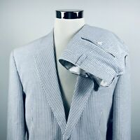 Jos A Bank 44L Stays Cool Seersucker Suit 38 x 32 Pleated Blue Striped Cotton