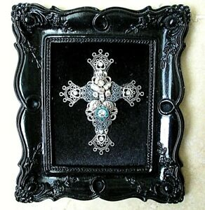 FRAMED VINTAGE RHINESTONE JEWELRY ON VELVET, Silver on Black Frame, CROSS