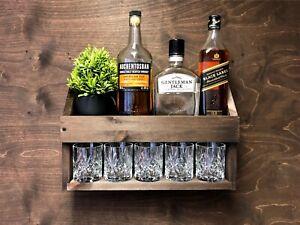Personalised Rum Whiskey Whisky Shelf Rack Wooden Drinks Rustic Home Bar (WDO)EM