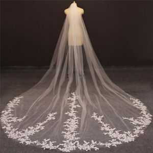 Long Lace Bridal Wedding Veils 3.5 Meters Cathedral with Comb White Ivory Tulle