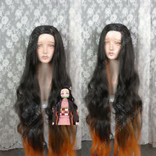 Anime Jump Kamado Tanjiro Kamado Nezuko Black Mixed Brown Glod Cosplay Wig 120cm
