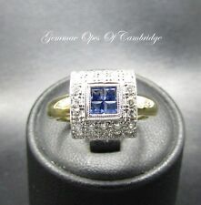 Art Deco Style 18K Gold 18ct gold Sapphire and Diamond Ring Size N 1/2 4.9g