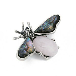Tibetan Silver & Abalone Shell & Rose Quartz Bee Brooch Pendant Bead SH772