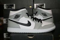 Nike Air Jordan 1 Mid Light Smoke Grey Black White Men's 554724-092 NEW