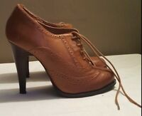 Seasonal Sale: Chic Aldo Tan Brogue Heels Size 5