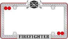 Firefighter License Plate Frame Chrome Black Red