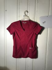 GREYS ANATOMY SCRUB TOP RED WOMENS SMALL S/S #A295