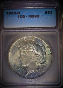 1923-D Peace Dollar ICG  MS63, Tougher Date, Blue irradiance Toned, Issue Free!!