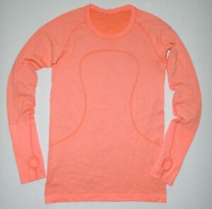 LULULEMON Long Sleeve Tech Shirt RUN SWIFTLY Thumb Holes CORAL Yoga Sz 8