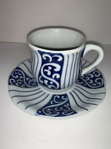 Blue and White Porcelain Demitasse Teacup and Saucer