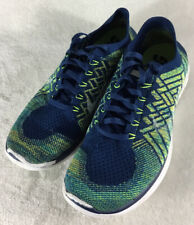 Nike Free 4.0 Men's Flyknit Running Shoes 717075-402 Brave Blue Volt Navy Sz 9.5