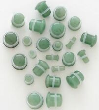 "1 Pair 1/2"" Organic Jade Green Stone Single Flare Ear Plugs Gauge Half Inch 12MM"